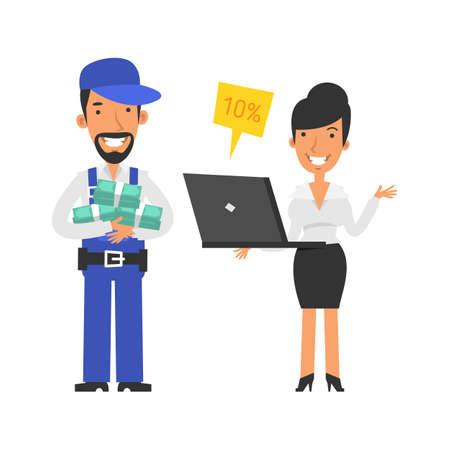 Repairman holding lot money and smiling. Business woman holding laptop and smiling. Vector characters. Vector Illustration Illustration