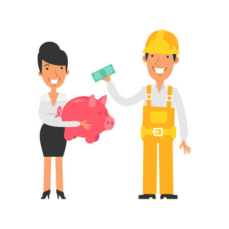 Business woman holding piggy bank and smiling. Builder holds banknote and smiles. Vector characters. Vector Illustration Illustration