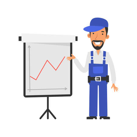Business graph with positive indicator. Repairman points to flipchart and smiles. Vector characters. Vector Illustration
