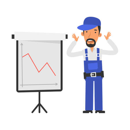 Business graph with negative indicator. Repairman not happy and scared. Vector characters. Vector Illustration