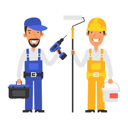 Repairman holds suitcase with tools and screwdriver. Builder holds bucket paint and holds roller. Vector characters. Vector Illustration