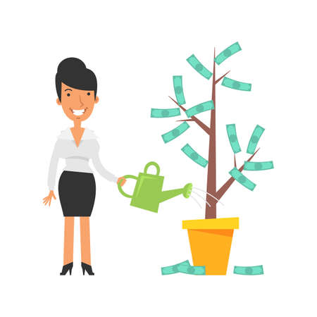 Money Tree. Business woman holding watering can and smiling. Vector characters. Vector Illustration