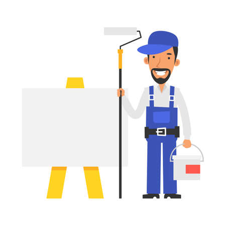 Repairman stands near blank sign and holds paint roller and bucket paint and smiling. Vector characters. Vector Illustration