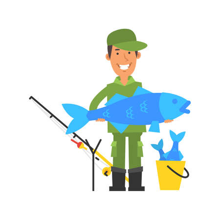 Happy fisherman holding big fish and smiling. Vector characters. Vector Illustration Illustration