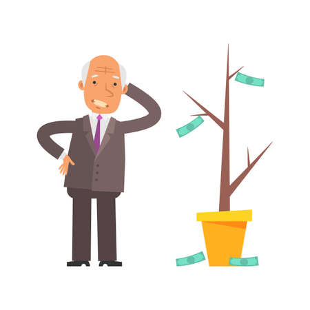 Money Tree. Old businessman puzzled and upset. Vector characters. Vector Illustration