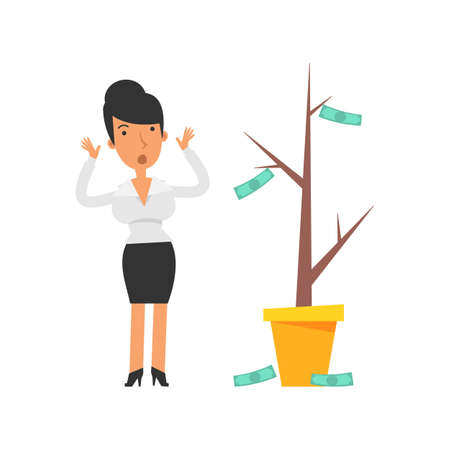 Money Tree. Business woman terrified. Vector characters. Vector Illustration Illustration
