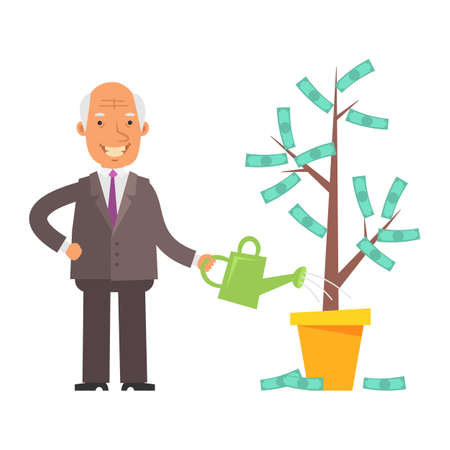 Money Tree. Old businessman holding watering can and smiling. Vector characters. Vector Illustration Illustration