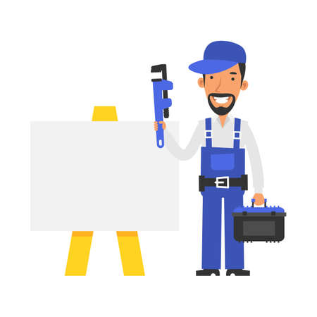 Repairman stands near blank sign and holds pipe wrench and smiling. Vector characters. Vector Illustration Illustration
