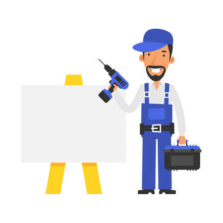 Repairman stands near blank sign and holds screwdriver and smiling. Vector characters. Vector Illustration
