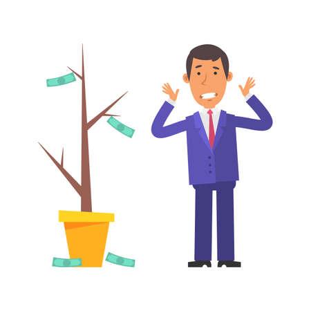 Money Tree. Businessman terrified. Vector characters. Vector Illustration Illustration