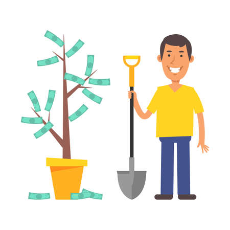 Money Tree. Young man holding shovel and smiling. Vector characters. Vector Illustration