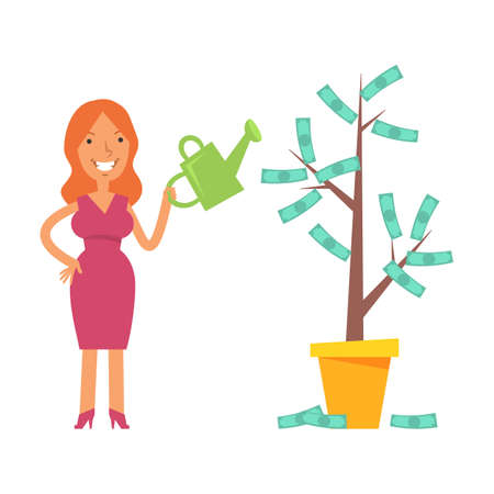 Money Tree. Young woman holding watering can and smiling. Vector characters. Vector Illustration