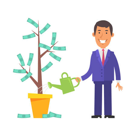 Money Tree. Businessman holding watering can and smiling. Vector characters. Vector Illustration