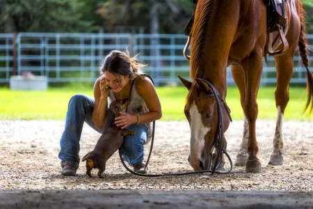 farm girl: Farm girl talking on phone with horse and dog Stock Photo