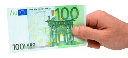 Close-up of a hand holding 100 euro banknotes