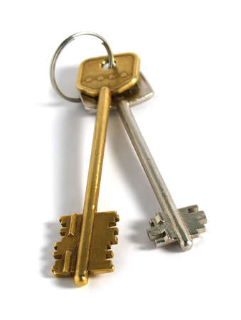 two keys for home isolated on white (focus on front side)