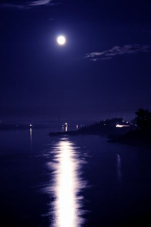 full moon over the river Stock Photo