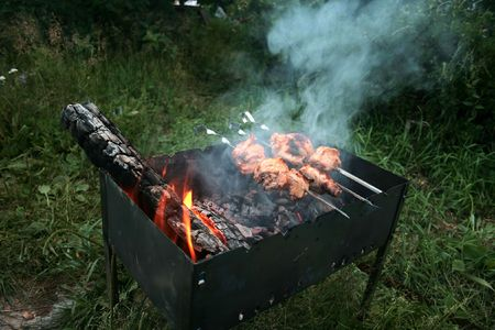 The tasty meat is prepared on charcoal