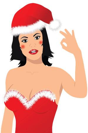 Vector Illustration of a beautiful santa girl showing OK sign