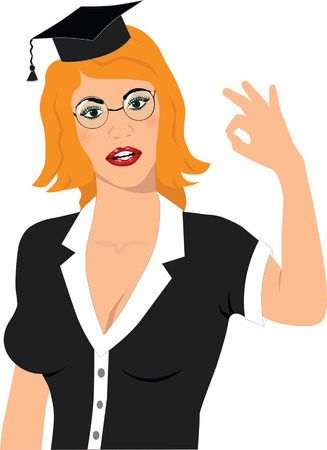 student showing OK sign vector image Vector
