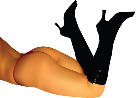 nude ass: woman back vector image (MESH, not jpg in eps, unlimited size) Illustration