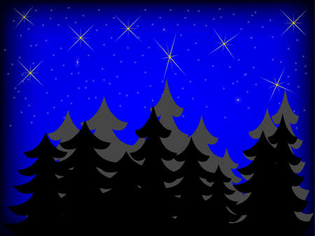abstract star-sky background with trees Vector