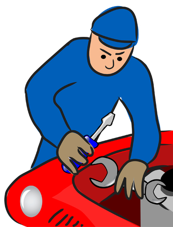 car park: auto mechanic repairs a motor of the automobile