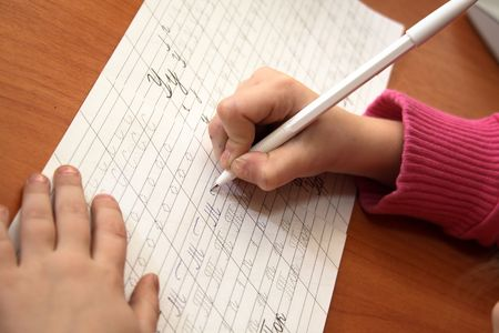 little girl writing Stock Photo - 3435176