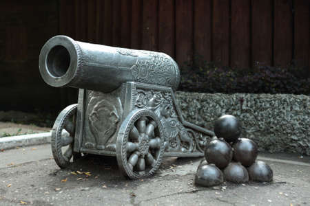 Old cannon at armour exibition in Russia