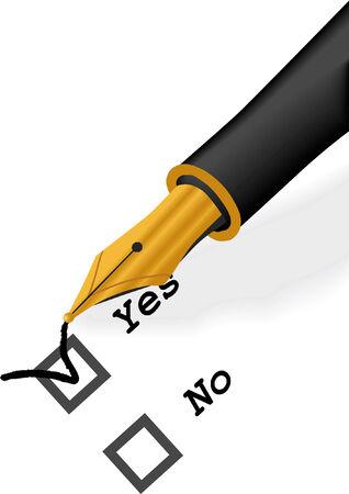 Gold Pen check Vector