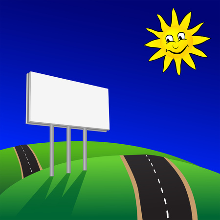 Advertising billboard on road with blue sky and sun vector illustration