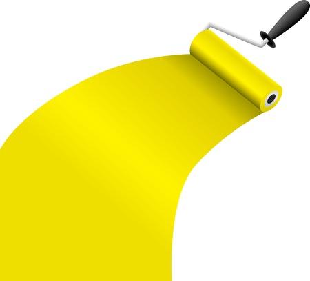 roller brush: brocha rodillo con pintura amarilla ilustraci�n vectorial Vectores