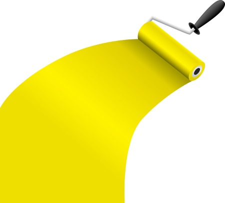 roller brush with yellow paint vector illustration