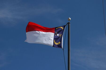 A high flying North Carolina Flag in the breeze