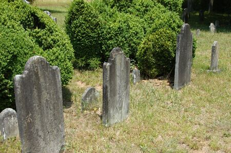 An old graveyard with faded head stones