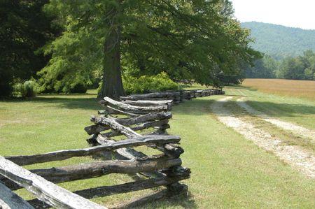 A colonial era split rail fence photo