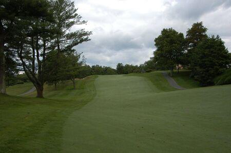 ローリング コースに沿ってゴルフ フェアウェイ
