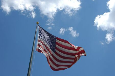 American flag in the breeze during the summer