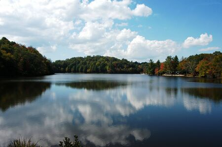 A rural North Carolina lake seen during the fall of year photo