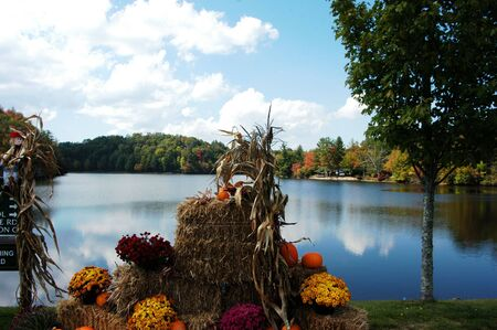 A fall scene along a lake in rural North Carolina photo