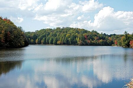 A lake during the fall of the year in North Carolina photo