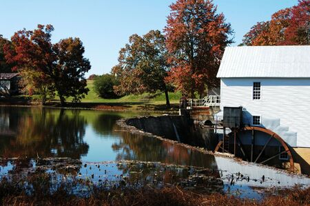 An old flour mill and dam in rural North Carolina photo