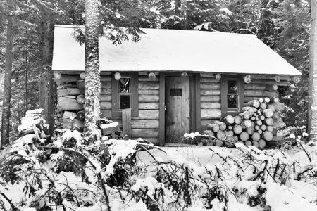 log cabin in snow:  cabin in the woods during the winter,picture shown in black and white