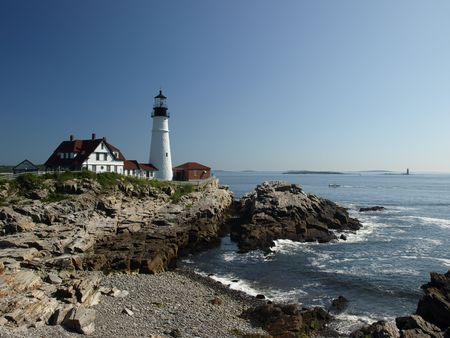 maine: Lighthouse along the coast of Maine in the summer time