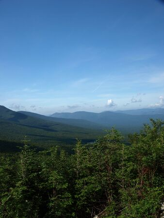 View along the Jewel trail which goes up Mt. Washington in the White Mountains of New Hampshire. The view is during the summer
