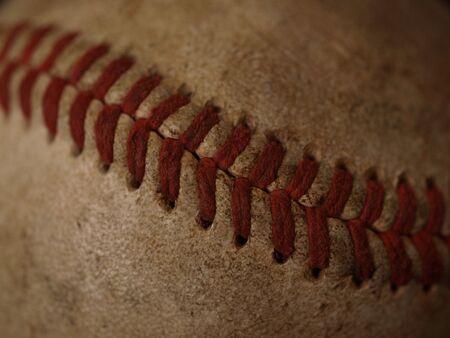 old baseball shown up close
