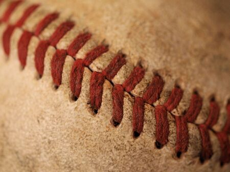 A closeup view of an old baseball Banco de Imagens