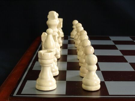 Bone white chess pieces ready to start the game