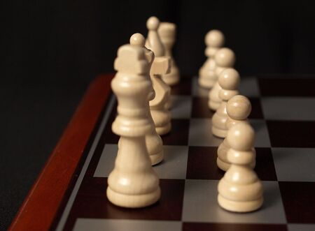 White king on the board shown up close