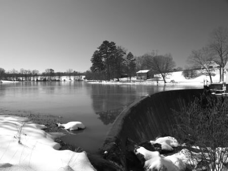 ice dam: Winter Scene at a rural pond
